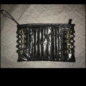 Lulu Townsend Black Zipper Clutch